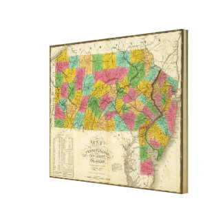 Map of Pennsylvania, New Jersey, and Delaware Canvas Print