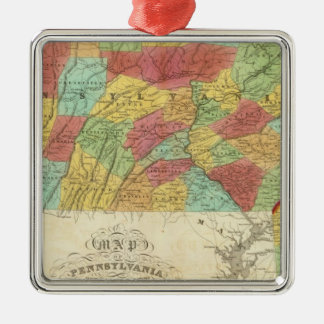 Map Of Pennsylvania New Jersey And Delaware Silver-Colored Square Decoration