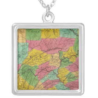 Map of Pennsylvania, New Jersey, and Delaware Silver Plated Necklace
