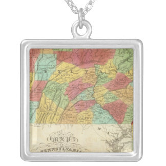 Map Of Pennsylvania New Jersey And Delaware Silver Plated Necklace