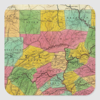 Map of Pennsylvania, New Jersey, and Delaware Square Sticker