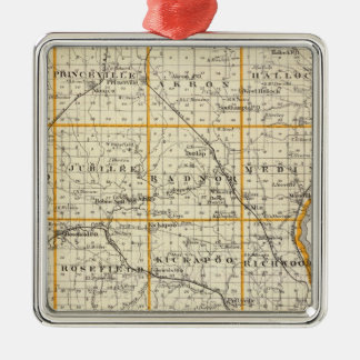 Map of Peoria County and Minonk Christmas Ornament