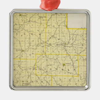 Map of Perry County Silver-Colored Square Decoration