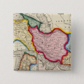 Map of Persia, Turkey In Asia Afghanistan 15 Cm Square Badge
