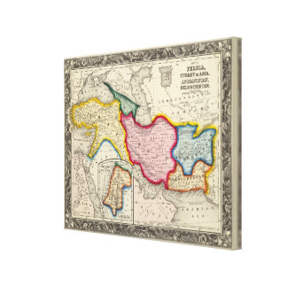 Map of Persia, Turkey In Asia Afghanistan Canvas Print