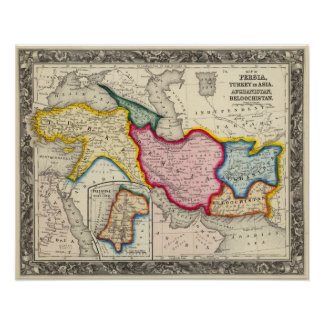 Map of Persia, Turkey In Asia Afghanistan Poster