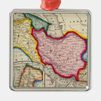 Map of Persia, Turkey In Asia Afghanistan Silver-Colored Square Decoration