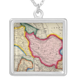 Map of Persia, Turkey In Asia Afghanistan Silver Plated Necklace