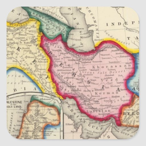 Map of Persia, Turkey In Asia Afghanistan Square Sticker