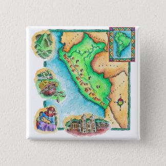 Map of Peru 15 Cm Square Badge