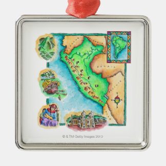 Map of Peru Christmas Ornament