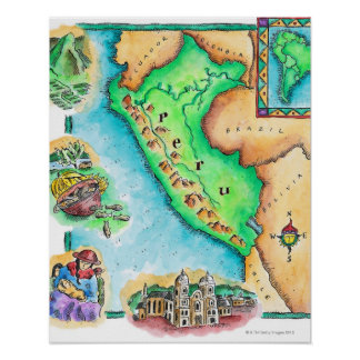 Map of Peru Posters