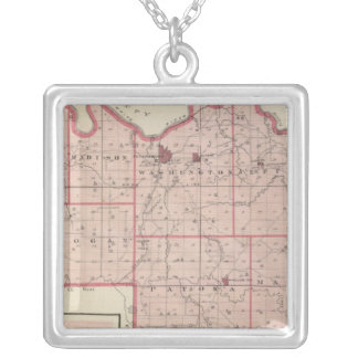 Map of Pike County with Plan of Petersburg Silver Plated Necklace