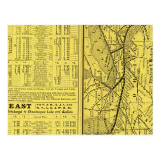 Map of Pittsburgh and Western Railway Postcard