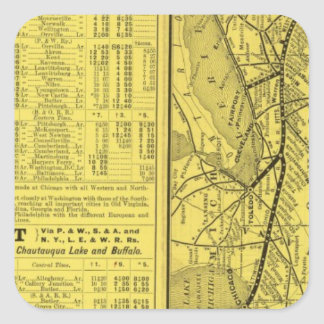 Map of Pittsburgh and Western Railway Square Sticker