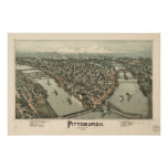 Map of Pittsburgh, Birds-Eye View, 1902 Poster