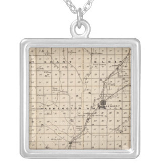 Map of Plymouth County Silver Plated Necklace