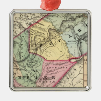 Map of Pocohontas, Greenbrier counties Christmas Ornament