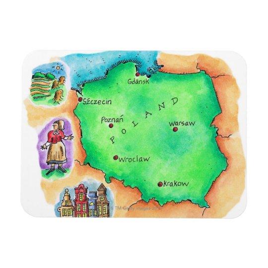 Map of Poland Rectangular Photo Magnet