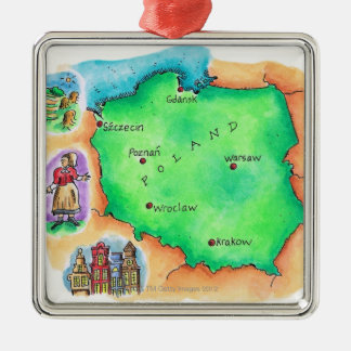 Map of Poland Silver-Colored Square Decoration