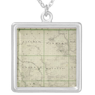 Map of Polk County, State of Iowa Silver Plated Necklace