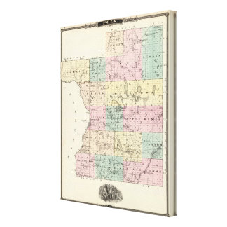 Map of Polk County, State of Wisconsin Canvas Print