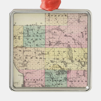 Map of Polk County, State of Wisconsin Christmas Ornament