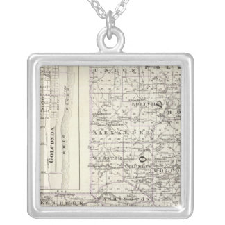 Map of Pope & Massac counties and Golconda Silver Plated Necklace