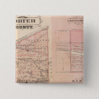 Map of Porter County with Chesterton, Hebron 15 Cm Square Badge