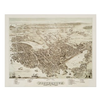Map of Portsmouth, New Hampshire in 1877 Poster