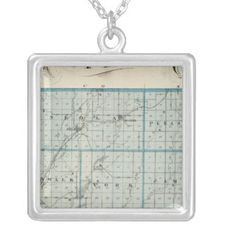 Map of Pottawattamie County Silver Plated Necklace