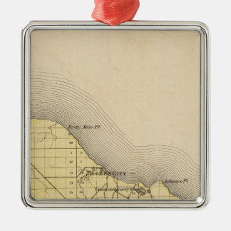 Map of Presque Isle County, Michigan Christmas Ornament