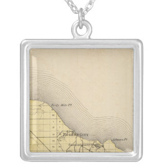 Map of Presque Isle County, Michigan Silver Plated Necklace