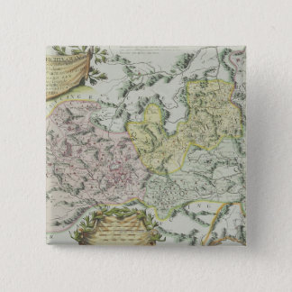 Map of Provinces in China 15 Cm Square Badge
