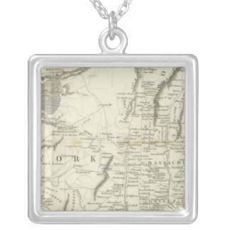 Map of Provinces of the United States Silver Plated Necklace