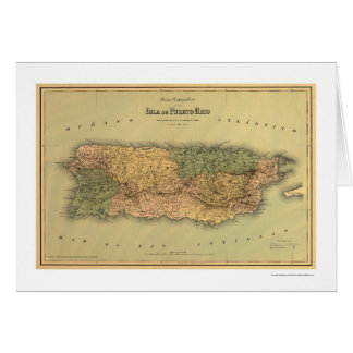 Map of Puerto Rico by Colton 1886 Greeting Card