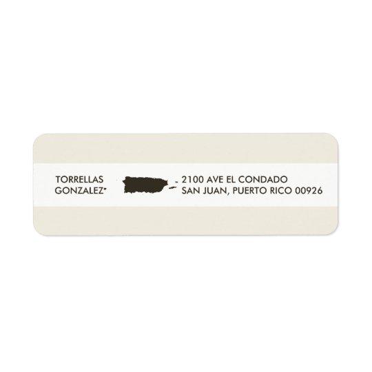 Map of Puerto Rico: Personalised Design Return Address Label