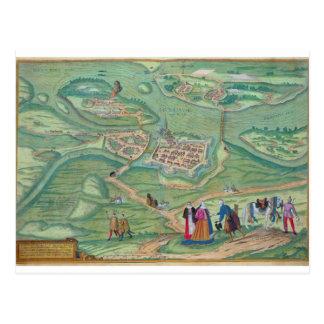 Map of Raab, from 'Civitates Orbis Terrarum' by Ge Post Card