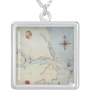 Map of Raleigh's Virginia Silver Plated Necklace