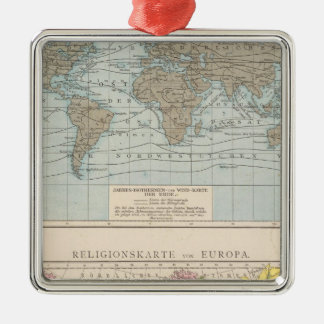 Map of Religions in Europe Silver-Colored Square Decoration
