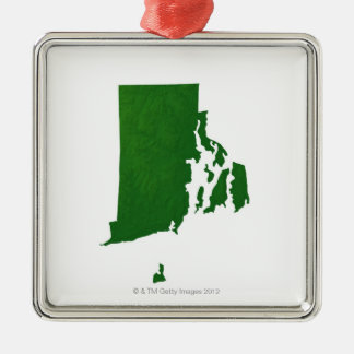 Map of Rhode Island 2 Silver-Colored Square Decoration