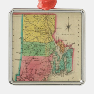 Map Of Rhode Island Silver-Colored Square Decoration