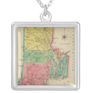 Map Of Rhode Island Silver Plated Necklace