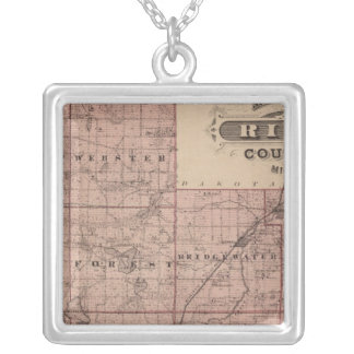 Map of Rice County, Minnesota Silver Plated Necklace