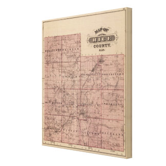 Map of Rice County, Minnesota Stretched Canvas Print