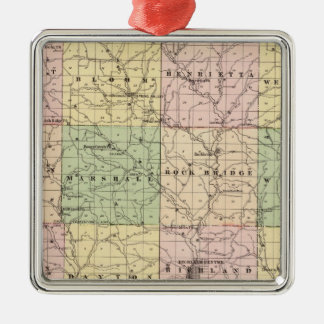 Map of Richland County, State of Wisconsin Christmas Ornament