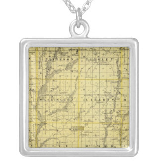 Map of Ringgold County, State of Iowa Silver Plated Necklace