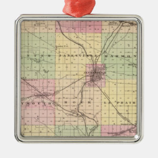 Map of Rock County, State of Wisconsin Christmas Ornament
