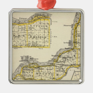 Map of Rock Island County and Dixon Christmas Ornament