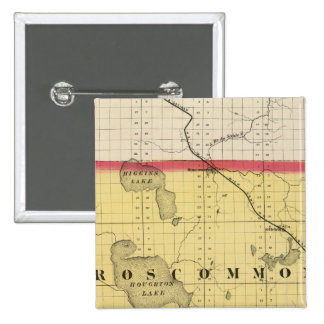 Map of Roscommon County, Michigan 15 Cm Square Badge
